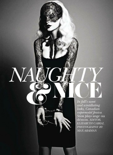 Naughty & Nice  Jessica Stam by Max Abadian for Flare September 2011