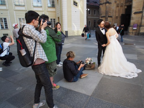 Prague Castle: When everyone is taking pictures of your wedding